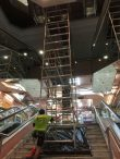 Fixed scaffold tower on stairs in shopping centre to replace fire sprinkler system – Haymarket Sydney