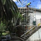 Fixed aluminium scaffold tower hire for residential gutter replacement - Rose Bay