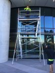 Hire portable scaffolding to install speaker system - Barangaroo