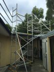 Custom aluminium scaffold tower to provide edge protection for new roof and gutters - Bankstown